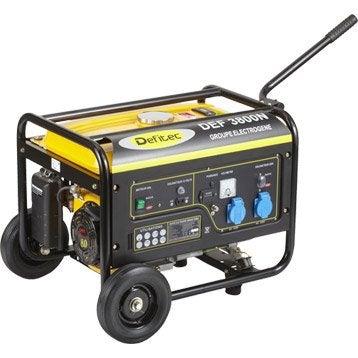 Groupe électrogène essence de chantier DEFITEC Defitec 3800 + chariot, 3000 W