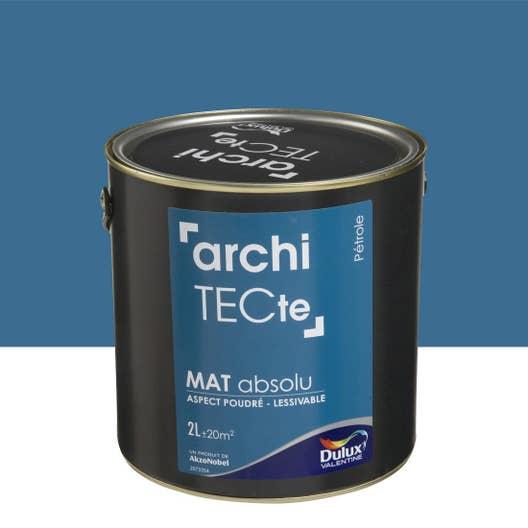 peinture bleu p trole mat dulux valentine architecte 2 l leroy merlin. Black Bedroom Furniture Sets. Home Design Ideas