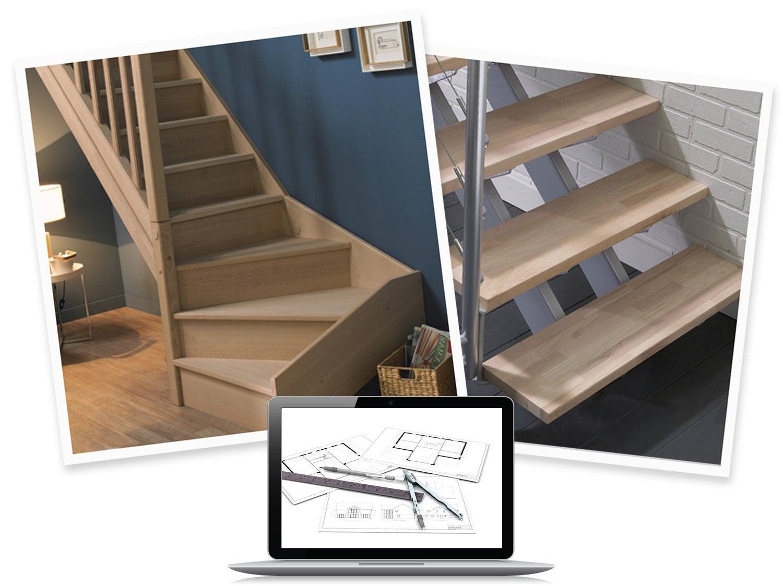 configurer mon escalier long longline droit et quart tournant leroy merlin. Black Bedroom Furniture Sets. Home Design Ideas