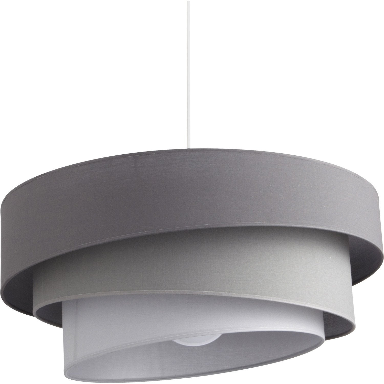 Suspension, e27 design Ionos coton gris 1 x 60 W METROPOLIGHT ...
