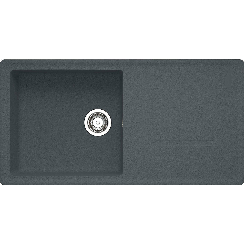 evier encastrer granit rsine graphite timor 105 auto grand bac gouttoir - Evier Resine Ou Granit