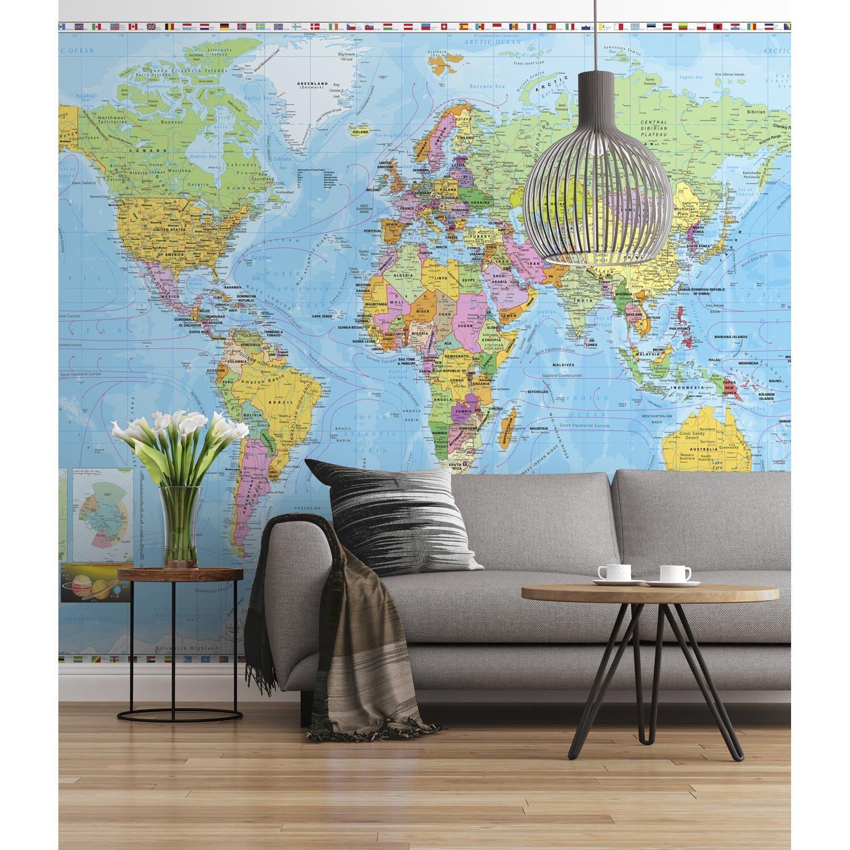 photo murale carte du monde multicolore komar x h. Black Bedroom Furniture Sets. Home Design Ideas