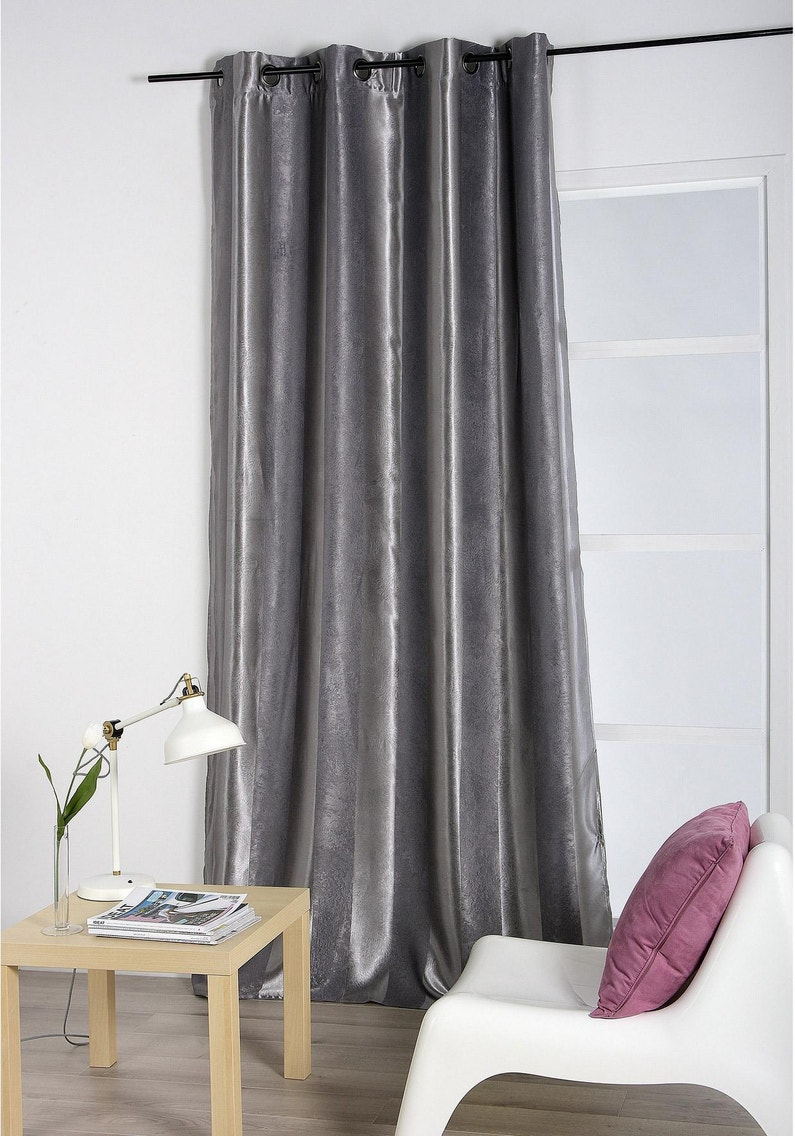 Rideau Occultant Velours Anthracite L 140 X H 260 Cm Leroy Merlin