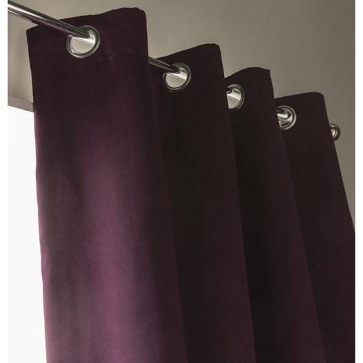 rideau occultant thermique et phonique leeds aubergine x cm leroy merlin. Black Bedroom Furniture Sets. Home Design Ideas