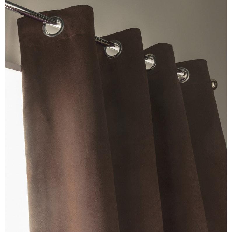 Rideau occultant thermique et phonique leeds chocolat x cm leroy merlin for Rideau thermique et occultant