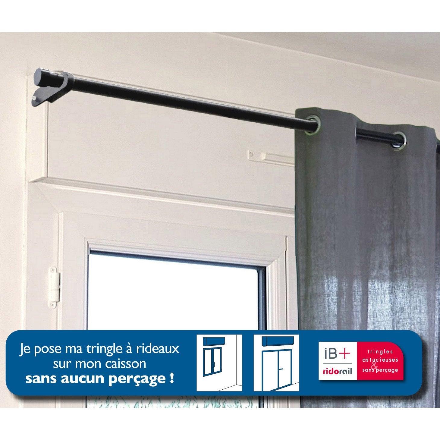 Tringle Extensible Sans Fixation lot de 2 supports sans perçage pour caisson volet roulant, d25 mm noir mat  ib+
