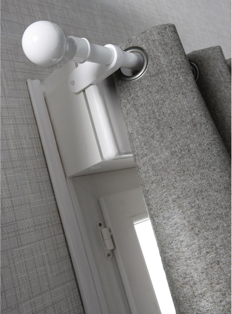 Barres À Rideaux Pose Sans Perçage lot de 2 supports sans perçage pour caisson volet, d25 mm blanc satiné ib+
