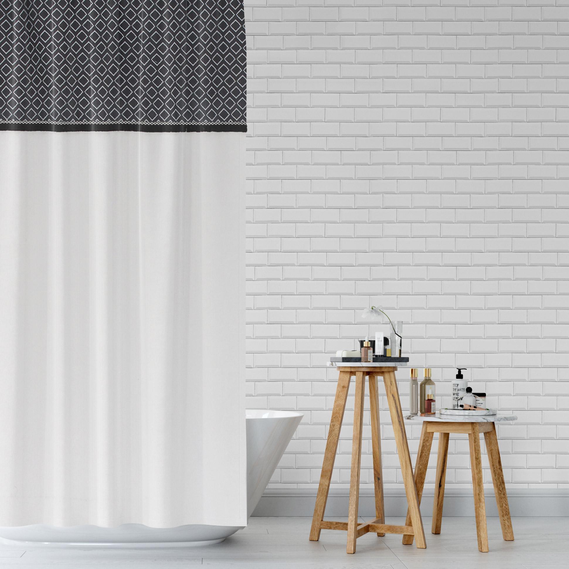 Rideau de douche en textile l.180 x H.200 cm, Folk NORASIA