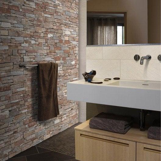 plaquette de parement lens en pierre naturelle beige leroy merlin. Black Bedroom Furniture Sets. Home Design Ideas