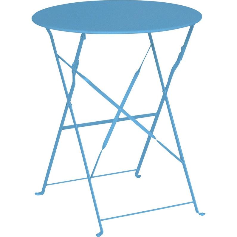Table de jardin de repas Flore ronde bleu 2 personnes | Leroy Merlin