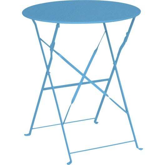 Table de jardin naterial flore ronde bleu 2 personnes for Table jardin bleu