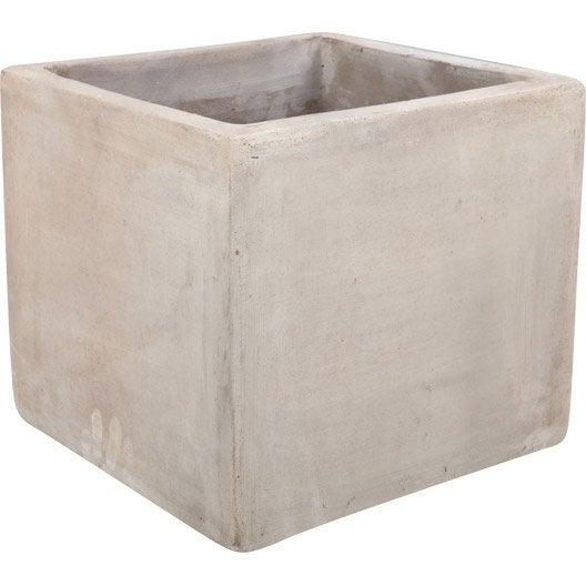 Pot en terre cuite l 27 x h 25 x l 27 cm taupe leroy - Pot de fleur leroy merlin ...