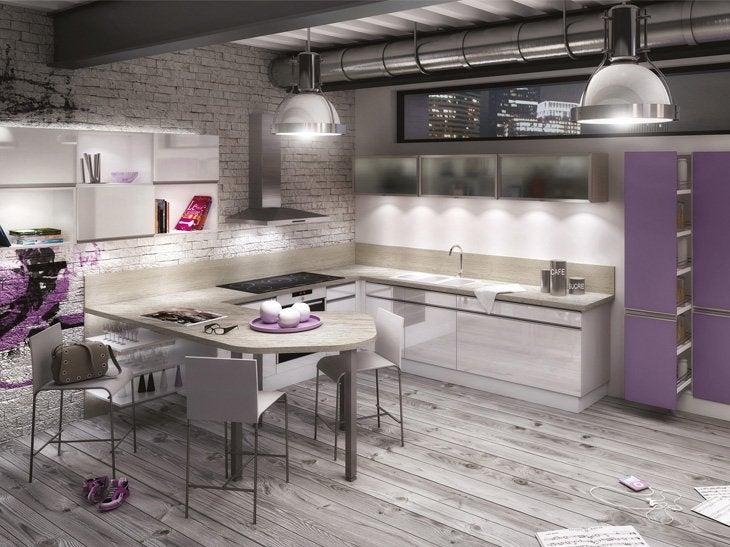 Cuisine sur-mesure Pampero laqué violet d'Espagne brillant