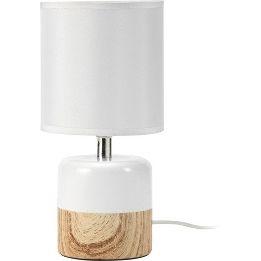 lampe wood mathias coton blanc 40 w leroy merlin. Black Bedroom Furniture Sets. Home Design Ideas
