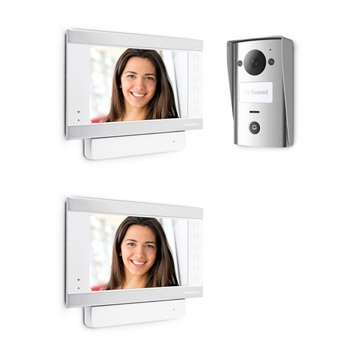 Pack visiophone 1 platine + 2 écrans filaire, THOMSON Smart