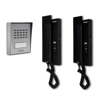 Pack interphone 1 platine + 2 combinés filaire, EXTEL Easy bus