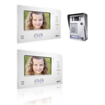 Pack visiophone 1 platine + 2 écrans filaire, SOMFY V200