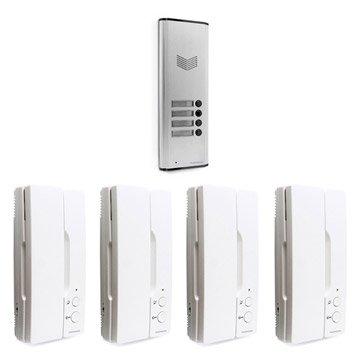 Pack interphone 1 platine + 4 combinés filaire, THOMSON Multihome