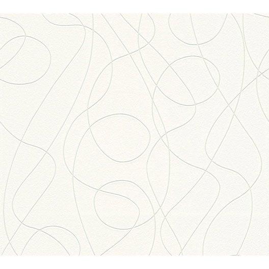 papier peint intissé serpentin phosphorescent blanc | leroy merlin