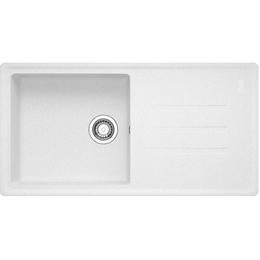 evier encastrer granit r sine blanc timor105 blanc artic. Black Bedroom Furniture Sets. Home Design Ideas