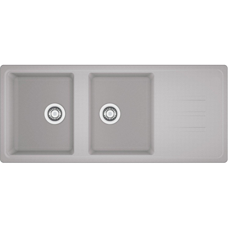 evier encastrer granit rsine gris timor210 platinum auto 2 bacs gouttoir - Evier Resine Ou Granit