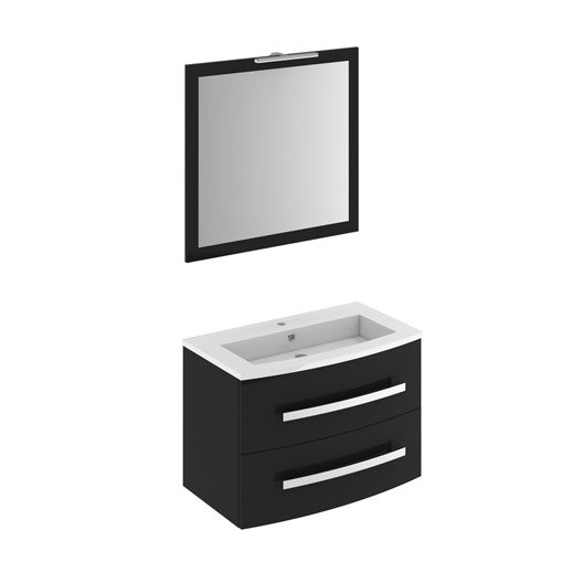meuble vasque 82 cm noir perla leroy merlin. Black Bedroom Furniture Sets. Home Design Ideas