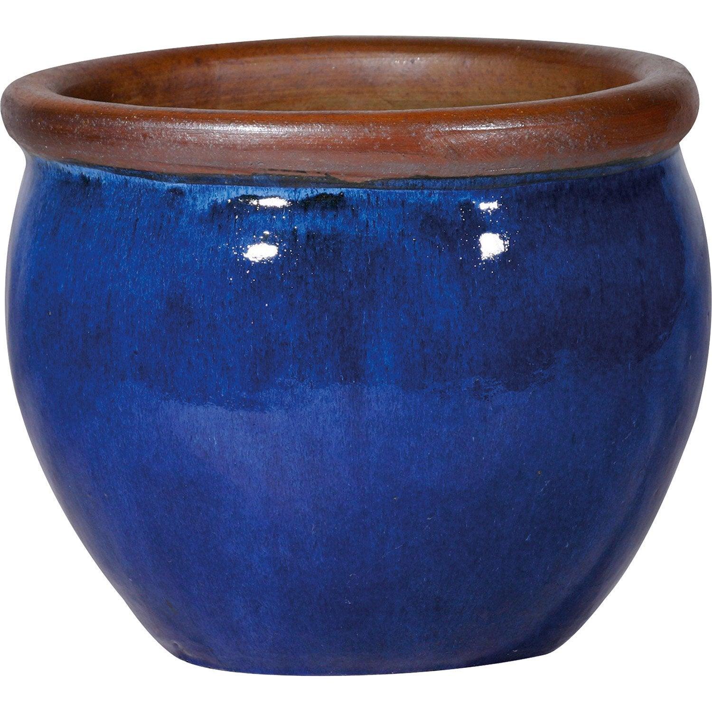 Pot Terre Cuite émaillée Deroma Diam29 X H27 Cm Bleu Leroy Merlin