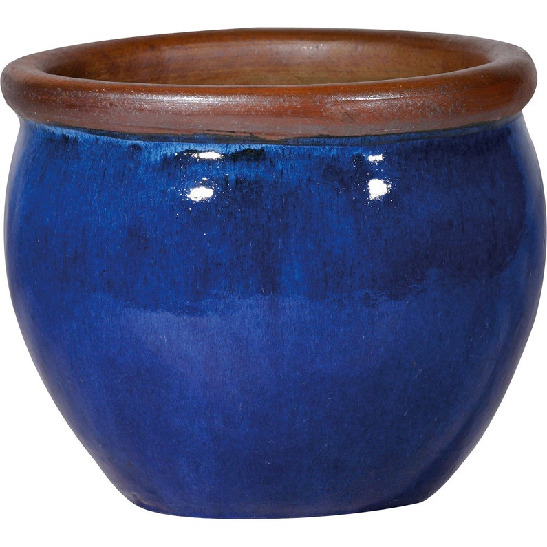 Pot Terre Cuite Emaillee Deroma Diam 37 X H 33 Cm Bleu Leroy Merlin
