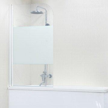 Pare-baignoire 1 volet pivotant H.140 cmxl.85 cm verre sécurité sérigraphié Quad