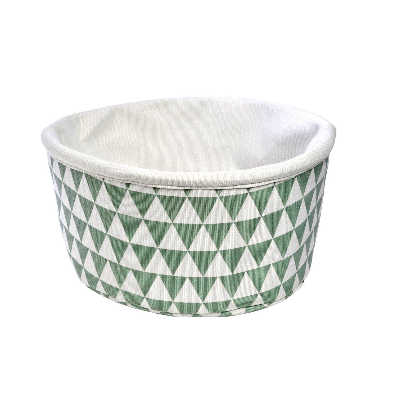Panier en polyester blanc et motif géometrique bleu, Geometric