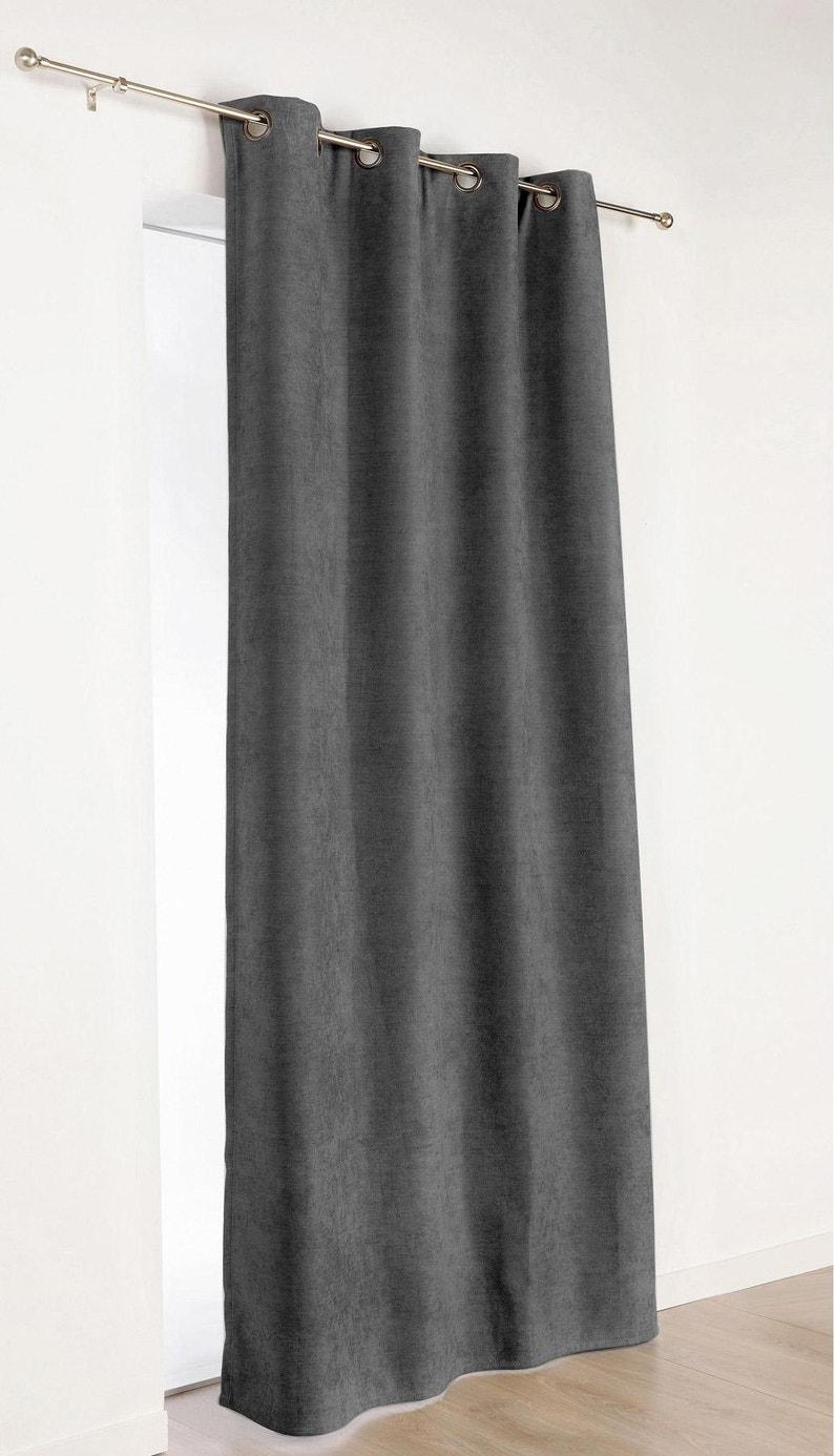 Rideau occultant, thermique, Alaska, gris foncé, l.140 x H.260 cm ...