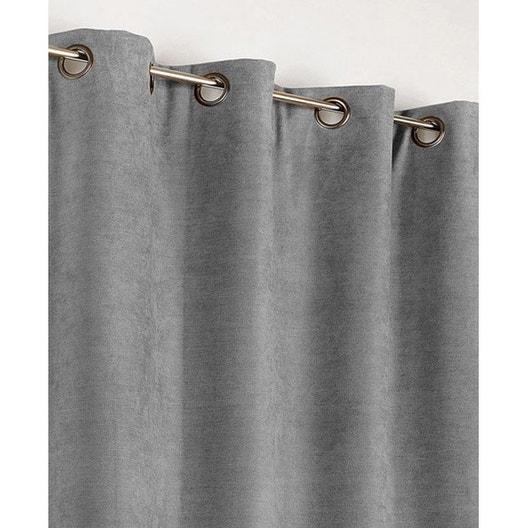 Rideau occultant, thermique, Alaska, gris clair, l.140 x H.260 cm ...