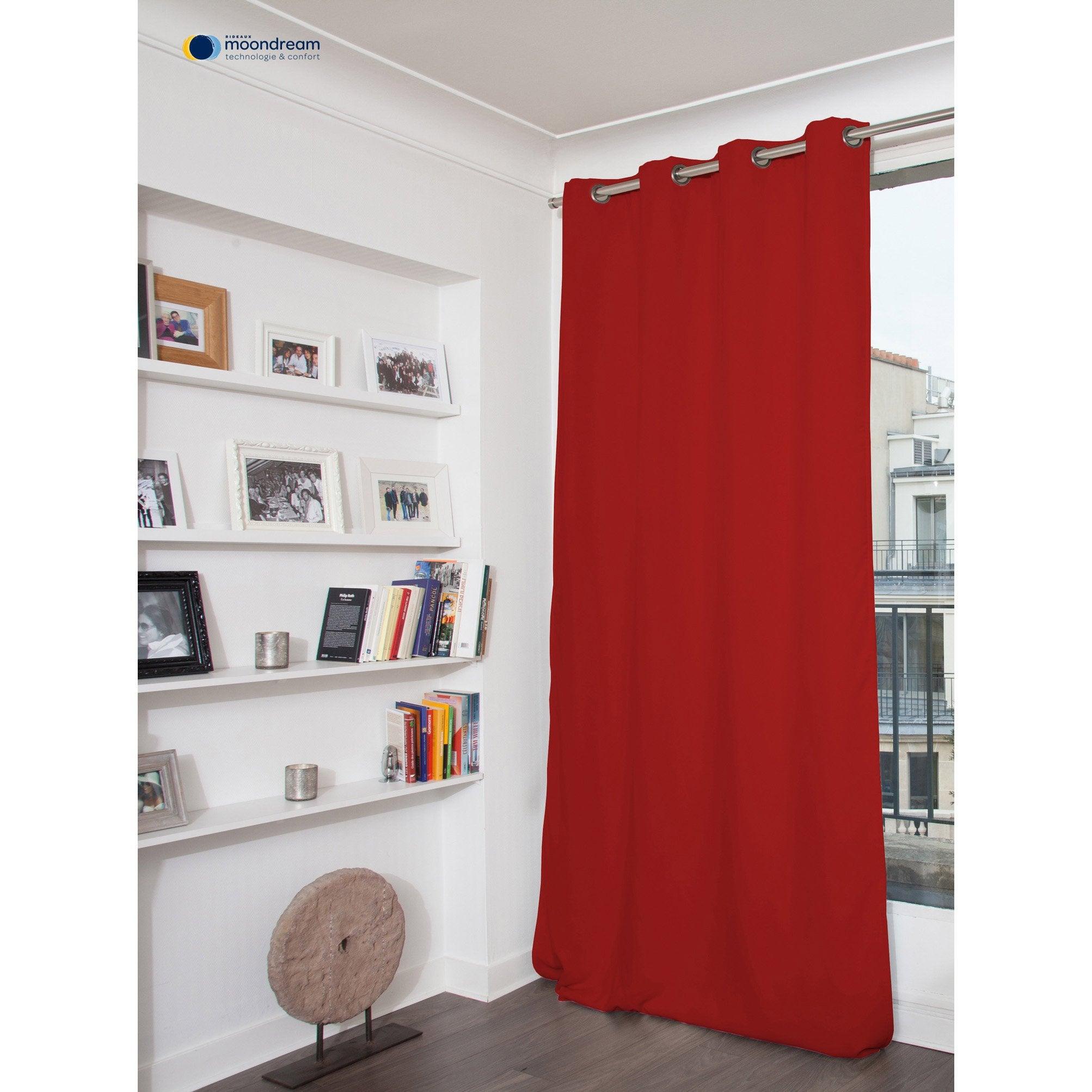 rideau occultant thermique et phonique rouge x cm moondream leroy merlin. Black Bedroom Furniture Sets. Home Design Ideas