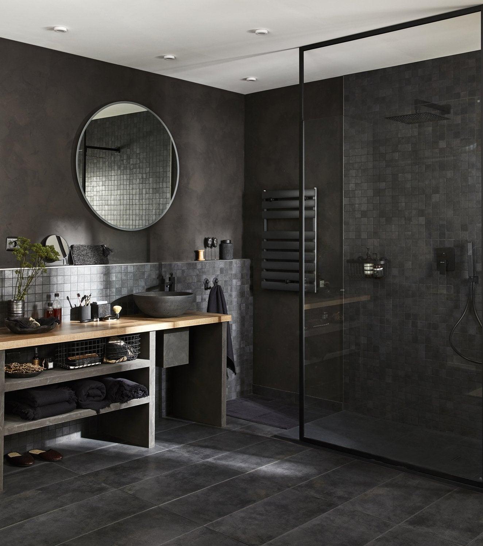 Une douche l 39 italienne au style vintage industriel - Modele de salle de bain a l italienne ...