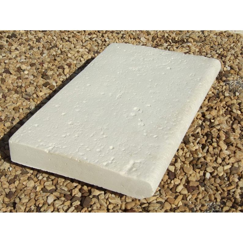 Margelle en pierre reconstituée ton pierre, L.50 x l.33 x Ep.5 cm ...