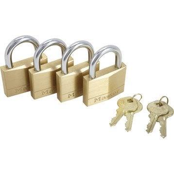 Lot de 4 cadenas à clé MASTERLOCK laiton, l.50 mm