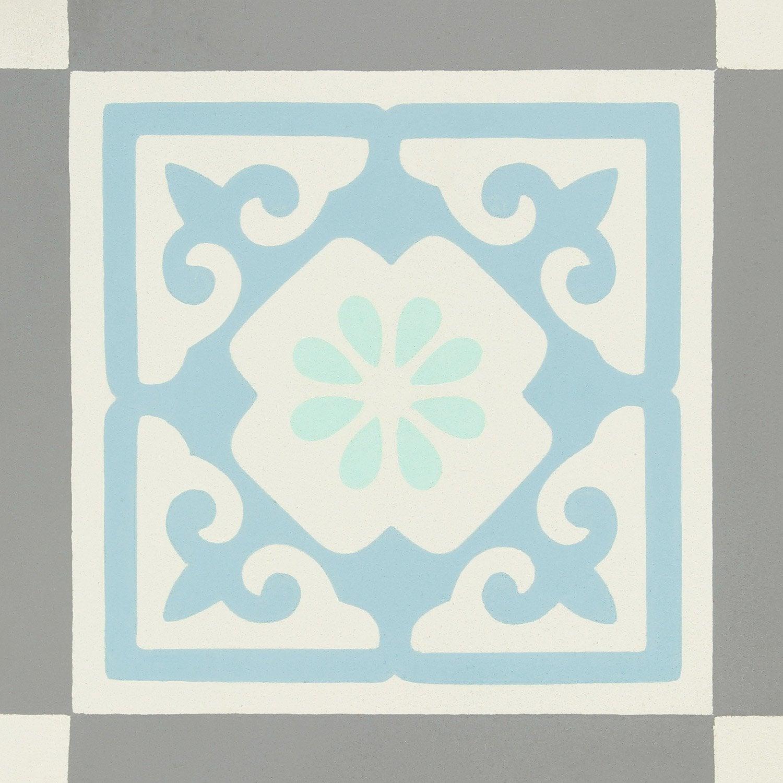 Carreau De Ciment Belle Epoque Decor Gris Bleu Vert Et Blanc L