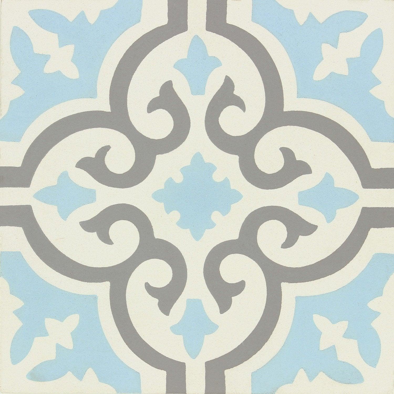 carreau de ciment belle époque décor elise gris, bleu et blanc, l.20