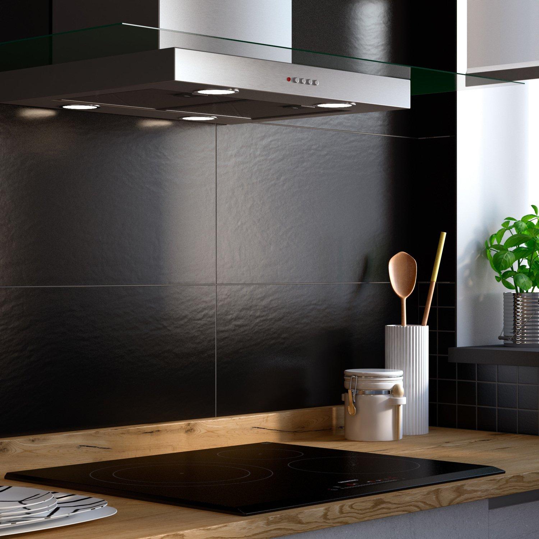 Habiller les murs de votre cuisine d 39 un carrelage aspect pierre noir pour plus de modernit - Carrelage cuisine noir ...