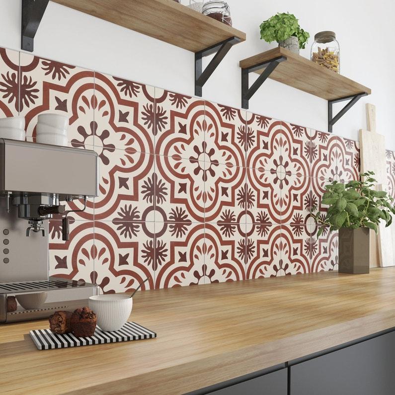 d corez sa cuisine avec des carreaux de ciment rouge leroy merlin. Black Bedroom Furniture Sets. Home Design Ideas