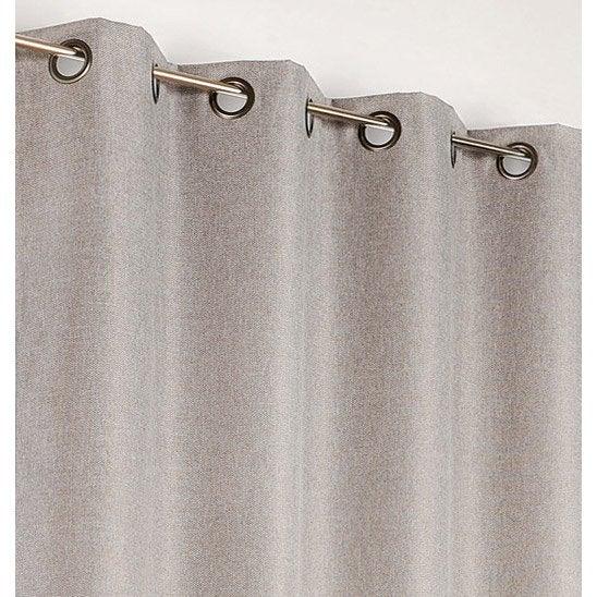 Rideau occultant, Calypso, gris clair, l.140 x H.240 cm