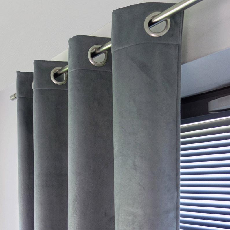 Rideau Occultant Thermique Bristol Gris Steel L 140 X H 260 Cm