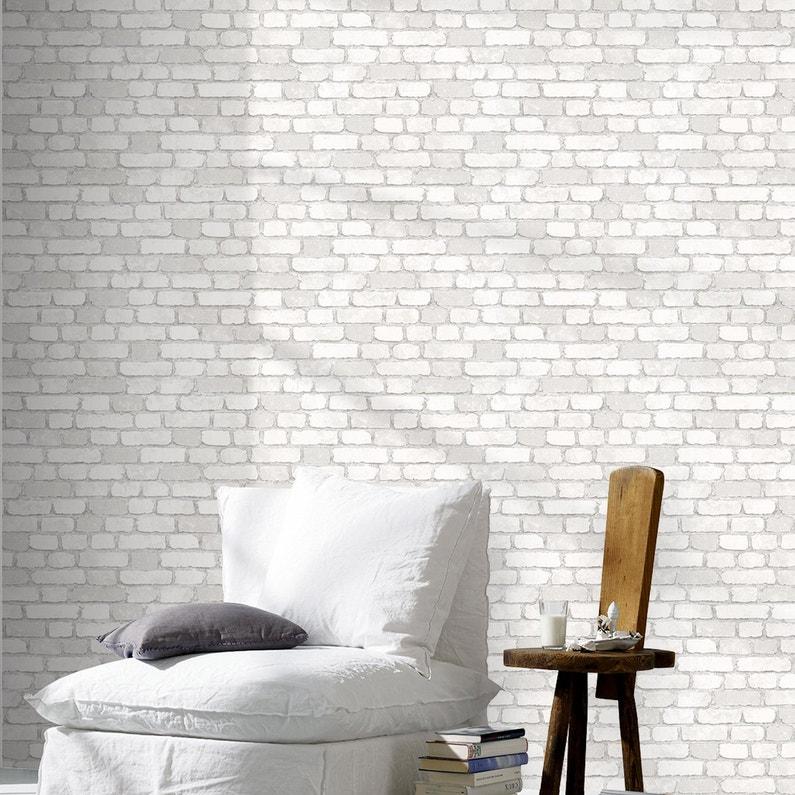 Papier Peint 3d Leroy Merlin.Papier Peint Vinyle Sur Intisse Brique 3d Blanc