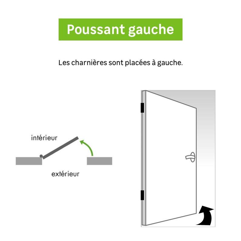 Bloc Porte Postformé Droite Huisserie 65 Mm H 204 X L 83 Cm Poussant Gauche