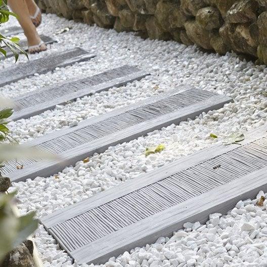 Dalle de cheminement canisse en pierre reconstitu e gris leroy merlin - Pose dalle pierre reconstituee ...