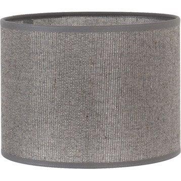 Abat-jour Tube, 30 cm, coton, gris paillettes