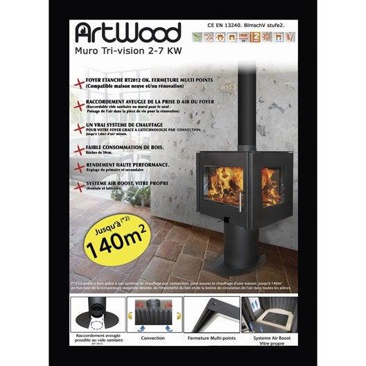 po le bois artwood poele muro tri vision bbc 7 kw leroy merlin. Black Bedroom Furniture Sets. Home Design Ideas