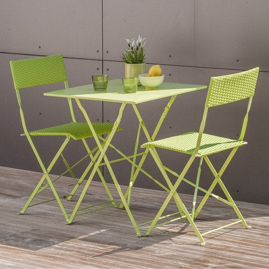 salon de jardin mezzo acier vert 1 table gueridon 2 chaises leroy merlin. Black Bedroom Furniture Sets. Home Design Ideas