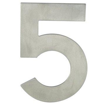 Chiffre 5 en acier inoxydable