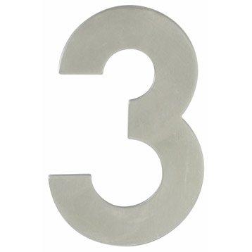 Chiffre 3 en acier inoxydable